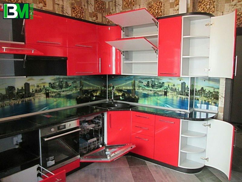 красная кухня угловая глянцевая МДФ крашенный