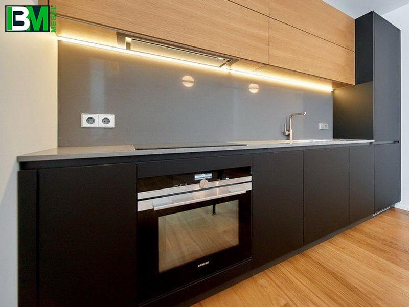 черная с коричневым матовая кухня ЛДСП и МДФ крашенный