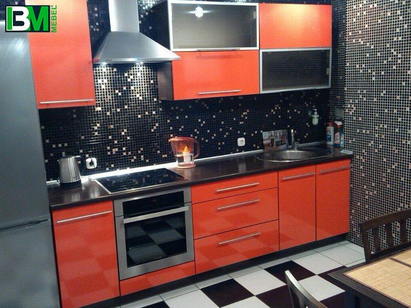 оранжевая терракотовая кухня глянцевая из пластика