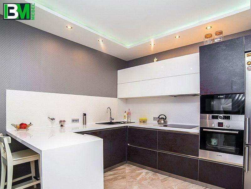 графитовая кухня ЛДСП и МДФ пленочный с барной стойкой