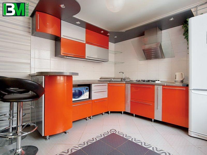 оранжевая с серым угловая кухня из пластика