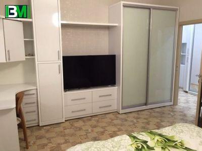 белая стенка в зал с нишей для телевизора и шкафом купе