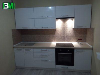 белая прямая кухня МДФ пленочный глянцевая