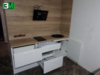 бело деревянная кухня МДФ крашенный